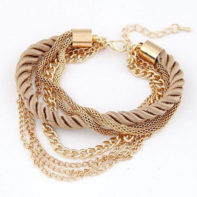 6 colors Korean Fashion Popular Low key Luxurious Metal Chain Braided rope Multilayer bracelet Anklets for women 2014