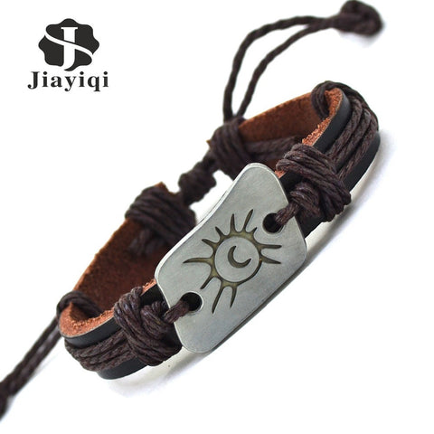 Handmade Braid Vintage Genuine Leather Bracelet for Woman Femme Bracelet Men Moon & Sun Charm Bracelets Bangles Jewelry