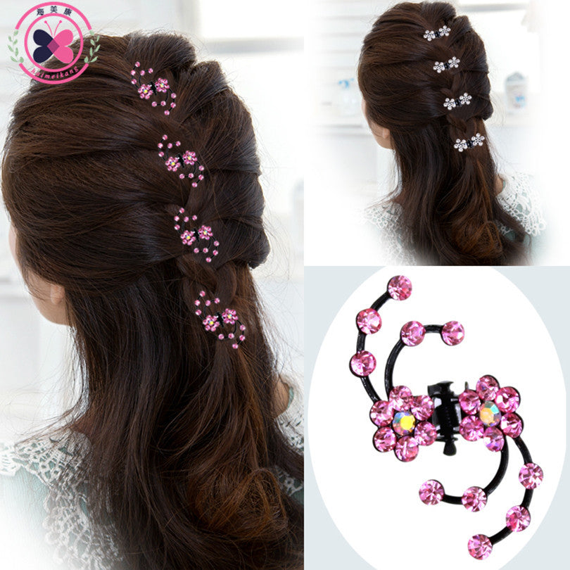 haimeikang 2017 New Fashion 6Pcs Girls Crystal Snowflake Hair Clips Hair Pins Headwear Crystal Accessories Hair Clips Wholesale