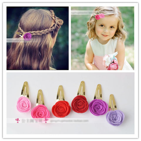 Colorful Rose Hair Snap Pin Artificial Rosette Flower Hair Clip Bridal Bridesmaid Barrette Vintage Pastoral Grip