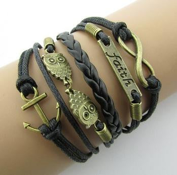 2016 vintage fashion owl big 8 love double infinite multi-layer leather bracelet factory wholesale price Jewellery