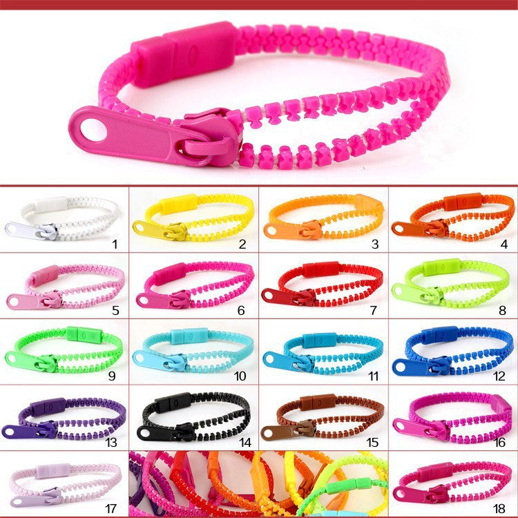 (Monochrome) Harajuku Zipper Bracelet Wristband Fluorescent color rainbow Levels Personality Gifts for Women Men jewelry Kids