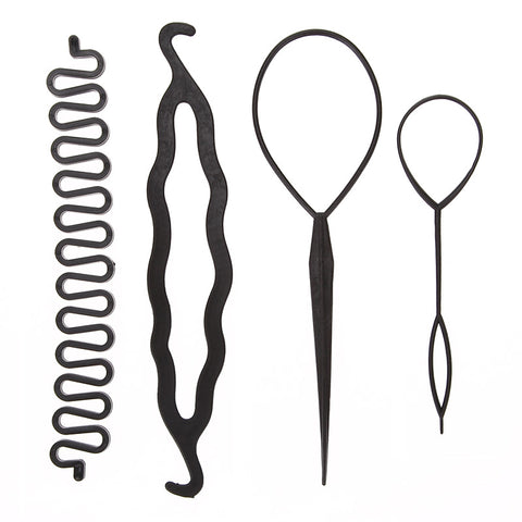 4pcs/set Magic Hair Styling Accessories Set Braiders Hair Pin Bun Roller Maker Hair Braiding Twist Curler Styling DIY Tool