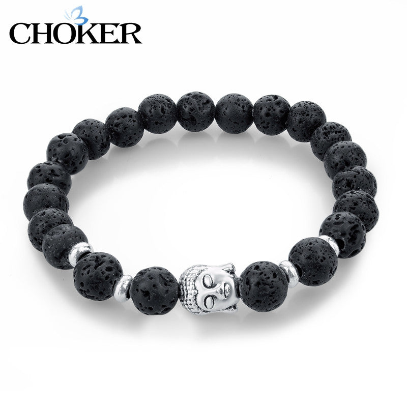 Natural Stone Bead Buddha Bracelets for Women Men Silver Turquoise Black Lava Love Jewelry With Stones 2016 Femme Pulseras Mujer
