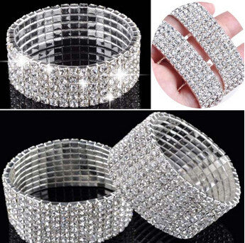 Fashion 2/3/4 Rows Crystal Rhinestone Luxury Wedding Bridal Bracelet Bangle Bling Wristband elastic Bracelets For Women Jewelry