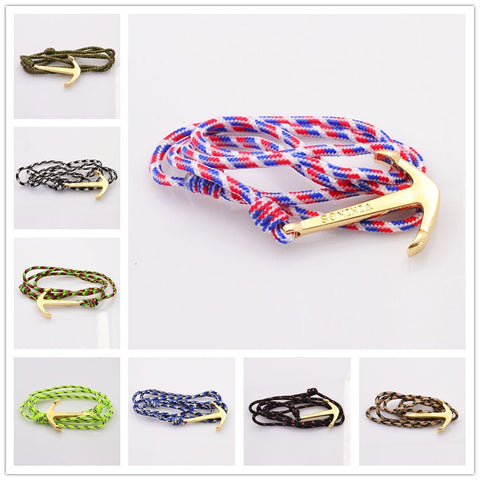 New fashion accessories jewelry Men women lovers' leather anchor charm bracelet nice gift mix color B3355
