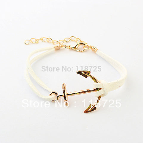 B1 LZ Anchor Bracelets For Women Men Fashion Charm Bracelets & Bangles Rope 8 Leather Masculina Jewelry Vintage Pulseira Mujer
