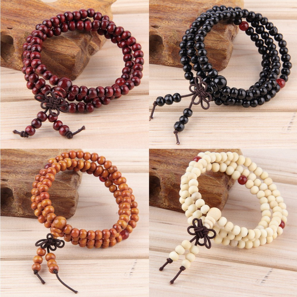 6mm Natural Sandalwood Buddhist Buddha Meditation 108 beads Wood Prayer Bead Mala Bracelet Women Men jewelry Hot Selling