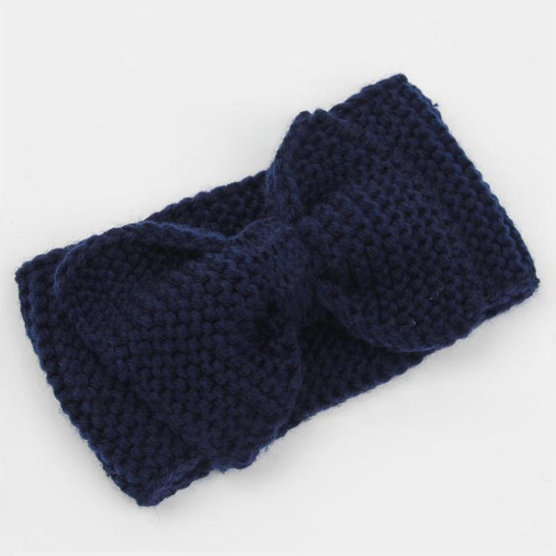 New Ear Wool Winter Headband for Woman Girl Hair Accessories Turban Head Band for Girl Headwrap Top Bow Hairband Knitted