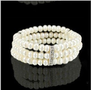 New Arrival Simple Brand Design Noble Imitation Pearl Elastic Bracelet Statement Accessories Jewelry Women 2035