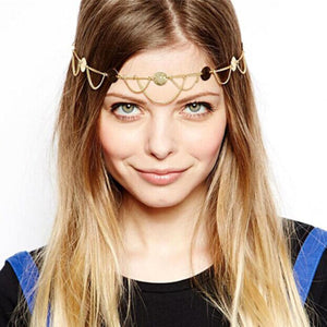 2016 Hot Sale Fashion plated Gold Head Chain Pieces Women Boho Headpiece Headband Metal Chain Hair Head Wrap Jewelry