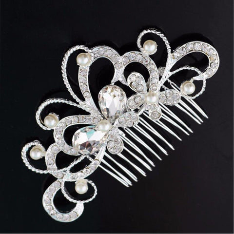 Bridal Wedding Butterfly Pearl Hairpin Hair Clip Comb Jewelry #LSN