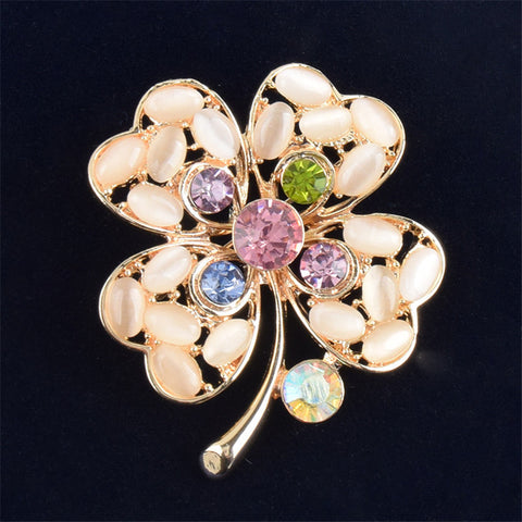 Fashion Women Camellia Shape Opal Brooch Colorful Rhinestone Dress Decorative Pin
