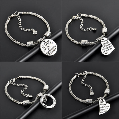 Sliver Family Lover Bracelets For Women Pulseras European Charm Letter Beads Snake Chain Bangle Bracelet Femme Men Jewelry