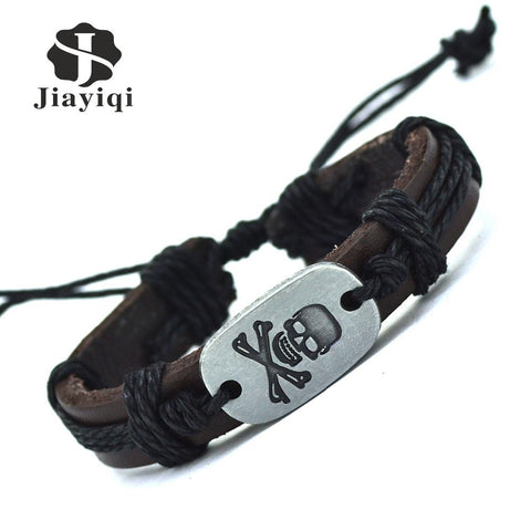 DIY Fashion Leather Strap Bracelets & Bangles Vintage Skull Rope Bracelet For Women Men Jewelry
