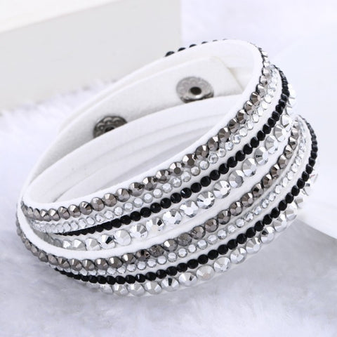 New Fashion Jewelry Rhinestone Leather Bracelet Wrap Multilayer Bracelet Crystal Bracelets for Women pulseiras mulher 2015