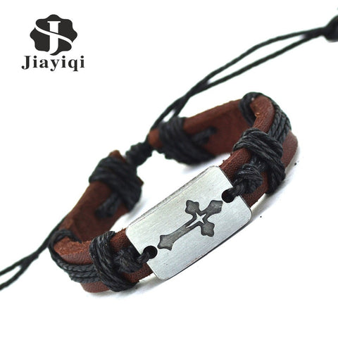 2015 Vintage Handmade Twine alloy Retro Charm Bracelet Genuine Leather Artificial Cuff Bracelet For Women Men Jewelry