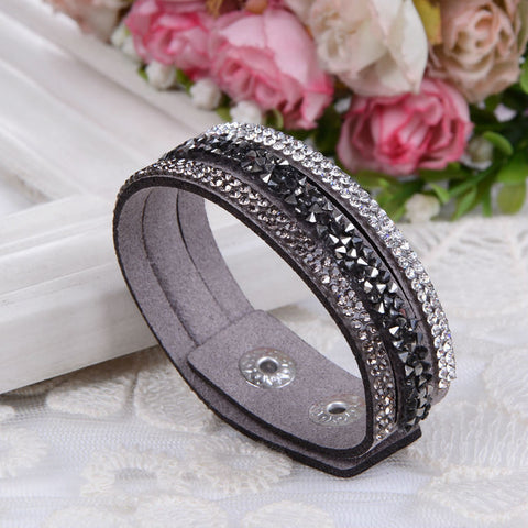 2016 New Fashion  Wrap Bracelets Slake Leather Bracelets With Crystals Couple Jewelry