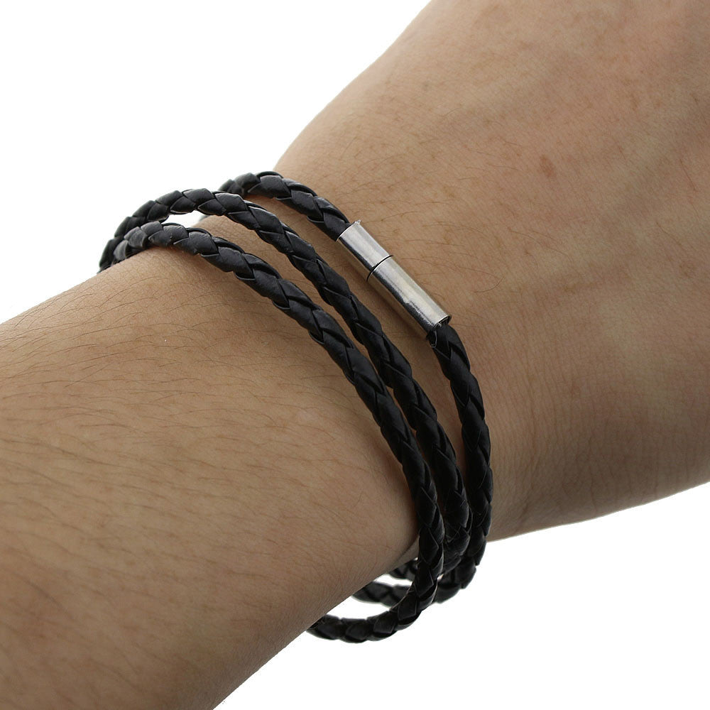 2016 New Fashion Style Latest Popular 3 Laps Leather Bracelet Men women Black Retro Punk Charm Bracelet Christmas Gift