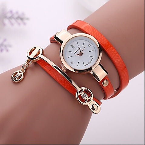 2016 Fashion New Summer Style Leather Casual Bracelet Watch Wristwatch Women Dress Watches Relogios Femininos Watch