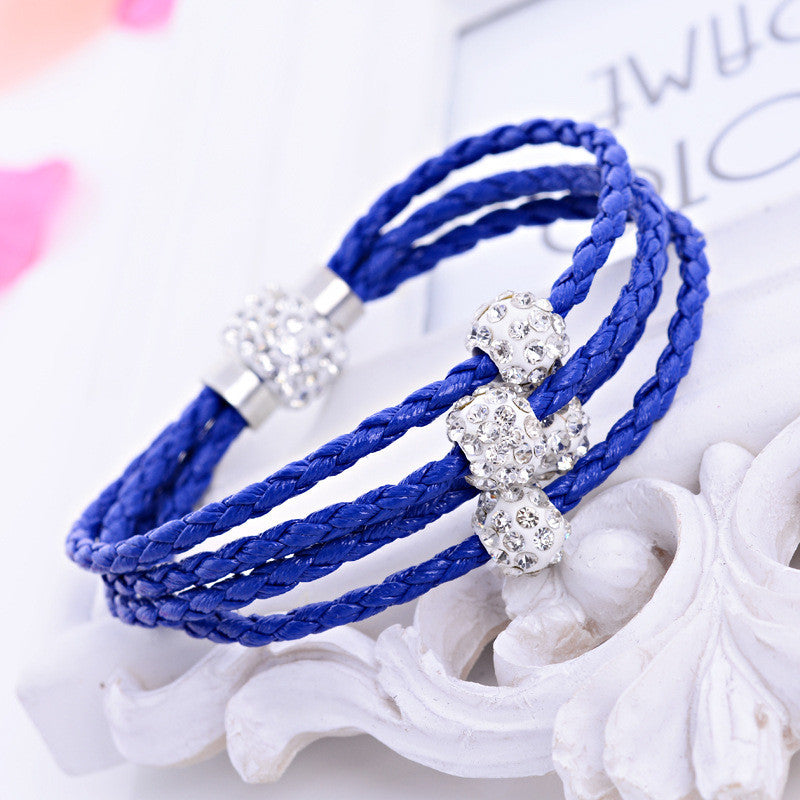 2016 Hot Jewelry Women Bracelets PU Trendy Multilayer Leather Bracelet With Magnet Clasp