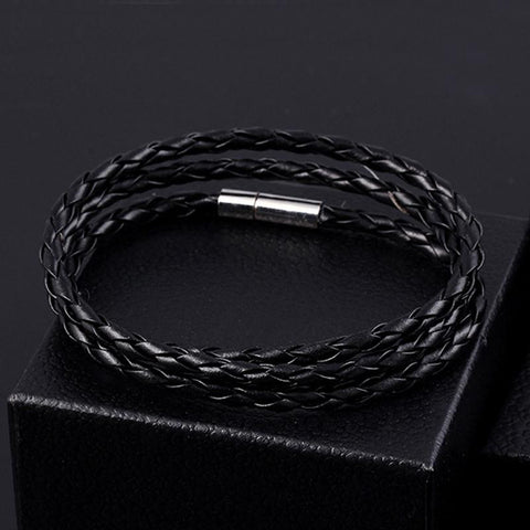 Hot Brand Black Leather Men Bracelet Vintage Steampunk Rope Chain Bacelet Women Casual Cull Jewelry pulseras