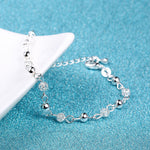 1 X New Women Silver Plated Crystal Chain Bangle Star Cuff Charm Bracelet Charm Rhinestone Love Heart Beads Bracelet Jewelry QLM