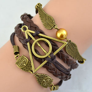Multilayer Bangle Antique Bronze harry potter magic hallows bracelet harry potter bracelet owl wing Personaliz bracelet