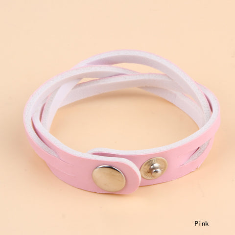 Fashion Simple Basic Twisted Leather Braided Bracelet Pu Leather Bracelets For Women Men 8 Colors BL-0194