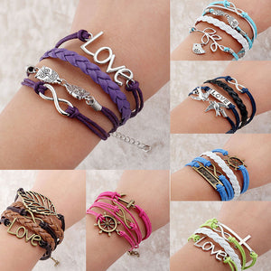 Bracelets for women Promotion Vintage Punk Bradided Leather bracelet Owl Hungry Games Charms bracelets jewelry pulseira couro