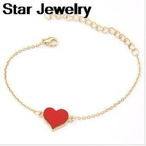 sTAR jEWELRY Fashion Gold Plated Heart Love Charm Bracelet For Woman Men 2015 New bracelets & bangles B64