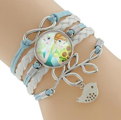 1 Pcs Vintage Snow Queen Antique Glass Charms cartoon Princess Braid Leather Bracelet Wristbands Kids Party Gift Supply 9 Style