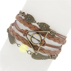 Sunshine Womens Del Hambre Vintage Bird Owls Anchor Bracelets Vintage butterfly Rudder Rectangle Leather Multilayer Bracelets