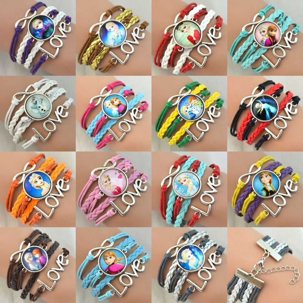 1 Fashion Froze  fashion jewelry Chain Froze  Girls Elsa Anna Heart Charm Bracelet Cartoon Kids Gift Froze Bracelet free shiping