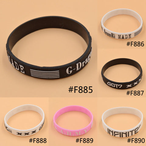 KPOP Bigbang G-Dragon GOT7 BTS Bantam Boys Infinite Same Style Fan Made Silicon Bracelet Wristband