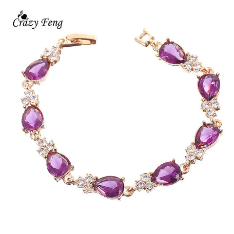 New Women Jewlery Pulseras Fashion 18K Gold Plated Chain Bracelet Cz diamond Wedding Jewelry Charm Bangle Bracelets
