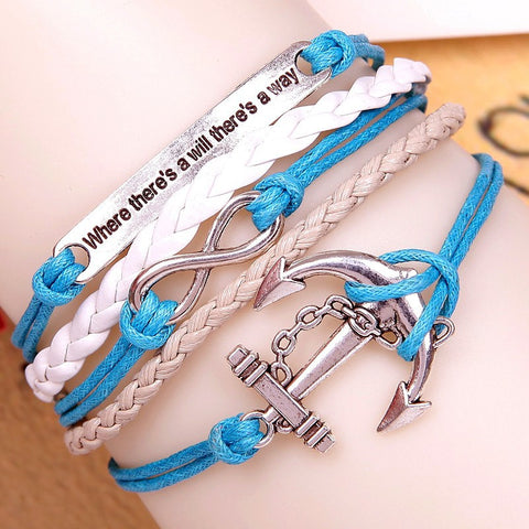 New Fashion Handmade Bracelets For Women Anchors Owl Love Bracelets Rudder Pulseras 19 Different Types Vintage Jewelry