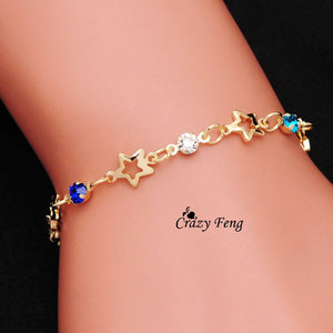 Hot Style Free Shipping Brand classic 18K Gold plated new romantic Bracelets For Girl Women's Jewelry anklet  Austrian Crystal