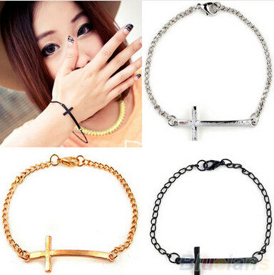 NS1  2015 New Fashion Hot-Selling Jewelry Wholesale Punk Style Cross Bracelet Simple Metal free shipping