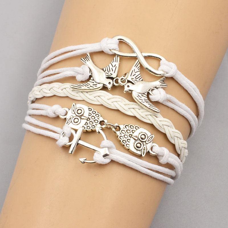 New fashion jewelry leather bracelet multi layer infinite love owl anchor tree design factory price wholesale sales B3367