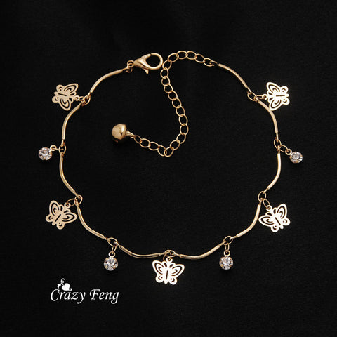 Hot Sale Fashion Jewelry Gold Plated Butterfly Bracelets for Women High Quality Crystal Charm Bracelets Bangles Pulseras Bijoux