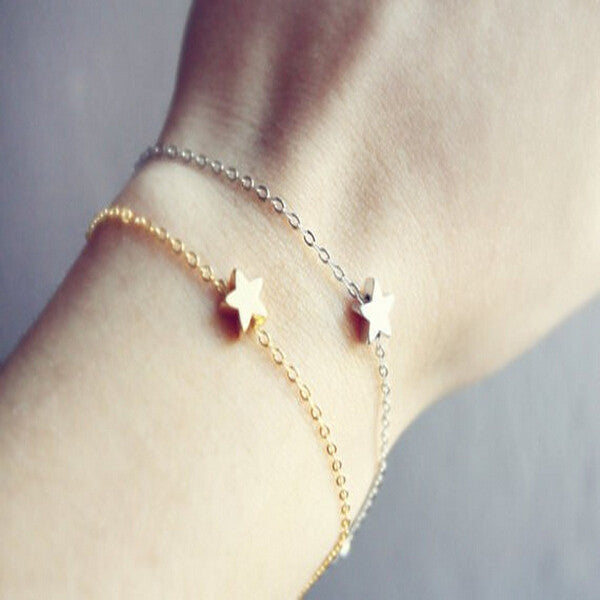 2015 New Fashion Gold Silver Simple Chain Star Bracelets For Women Fine Jewelry Hot Sale TS1218
