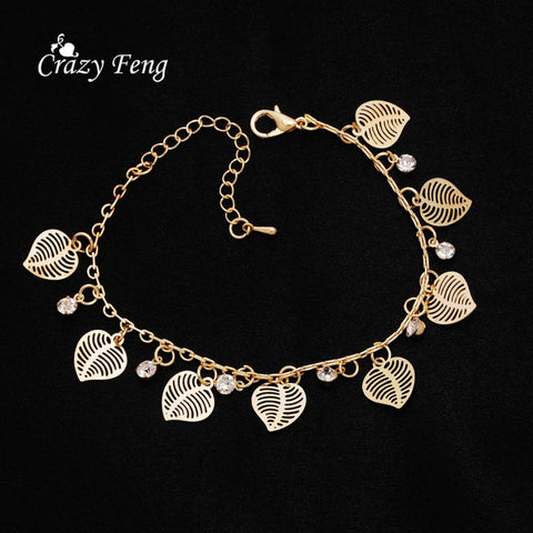 Free shipping Brand New Fashion hot 18K Gold plated Charms Bracelets  Anklets For Girl Dangle Austrian Crystal Women's Jewelry
