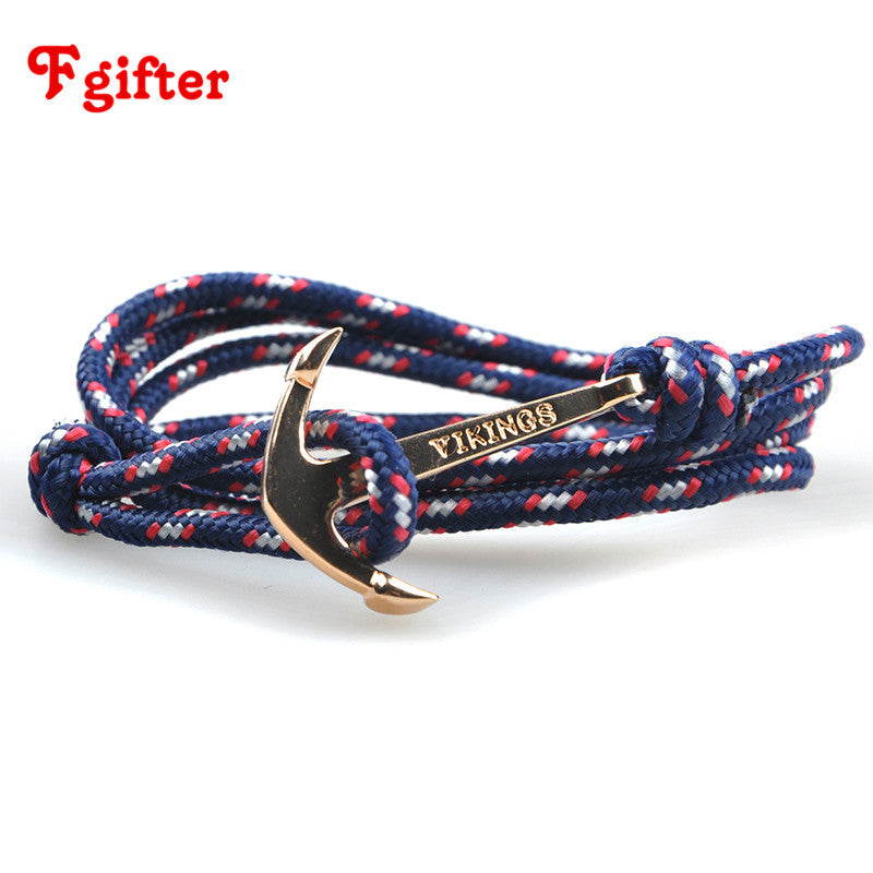 2016 New DIY Rope Black Blue tom hope Anchor Bracelet Fashion Women Men Hooks Bracelet Wholesale Bangle Hot Saling
