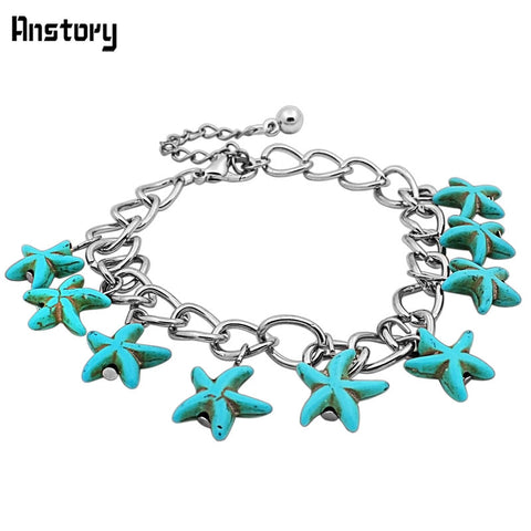 Fashion Jewelry Antique Silver Plated Cute Starfish Turquoise Bead  Bracelet TB129