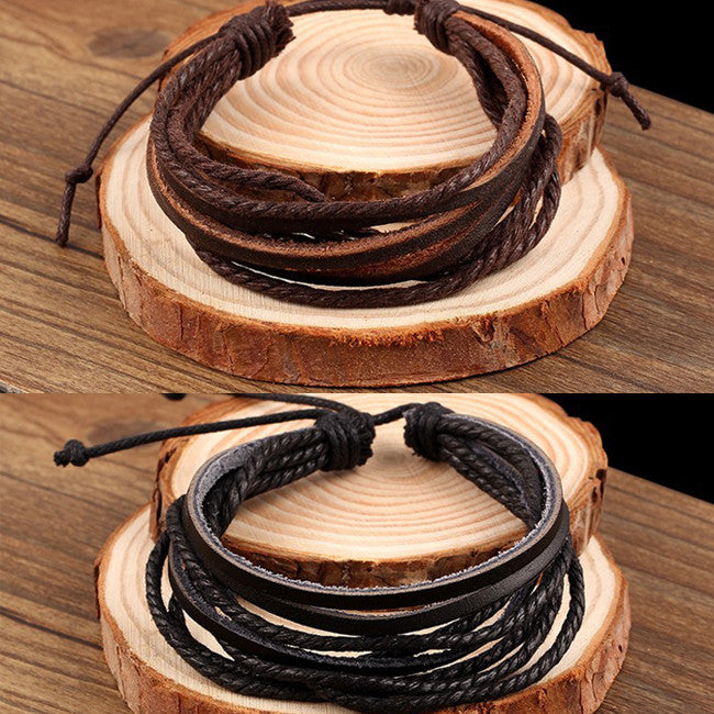 100% hand-woven Fashion Jewelry multilayer Leather Braided Rope Wristband men bracelets & bangles for women 2014 PD26