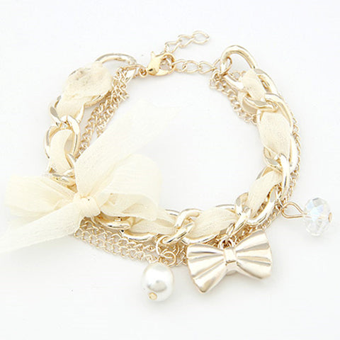 Bracelets For Women Simulated Pearl Charm Gold Plated Bracelets Bangles Women Fashion Bow pulseira feminina  Bracelet femme
