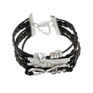 2016 new heart bead multi layer braided charm leather bracelet silver one direction bracelet pulsera men pulseira couro