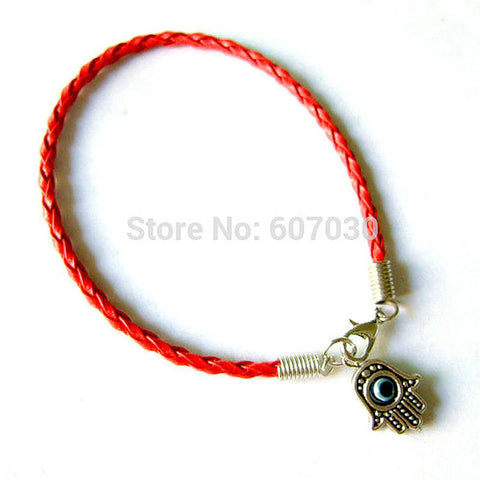 fashion Evil Eye Kabbalah Red Bracelet Hamsa Lucky Eye Charm Amulet Blue Yellow White Green Pink Brown Leather Cord Bracelets