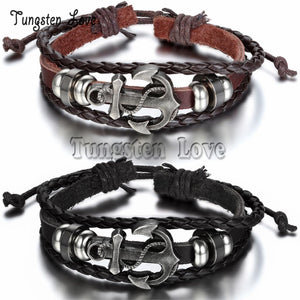 Adjustable Men Vintage Anchor Multilayer Leather Bracelet Wholesale Cuff braided   Bracelet pulseira masculina couro